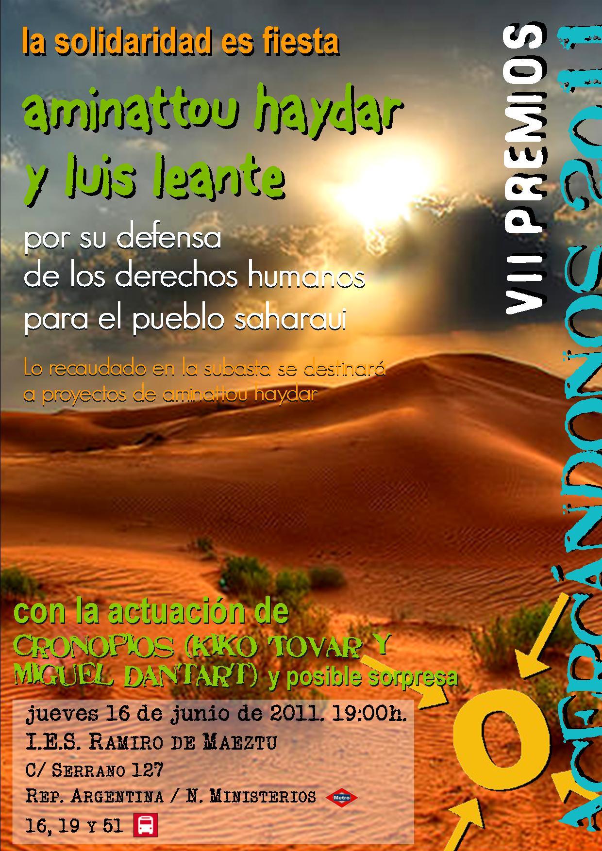 """Premios """"Acercándonos"""" 2011: Aminattou Haydar y Luis Leante"""