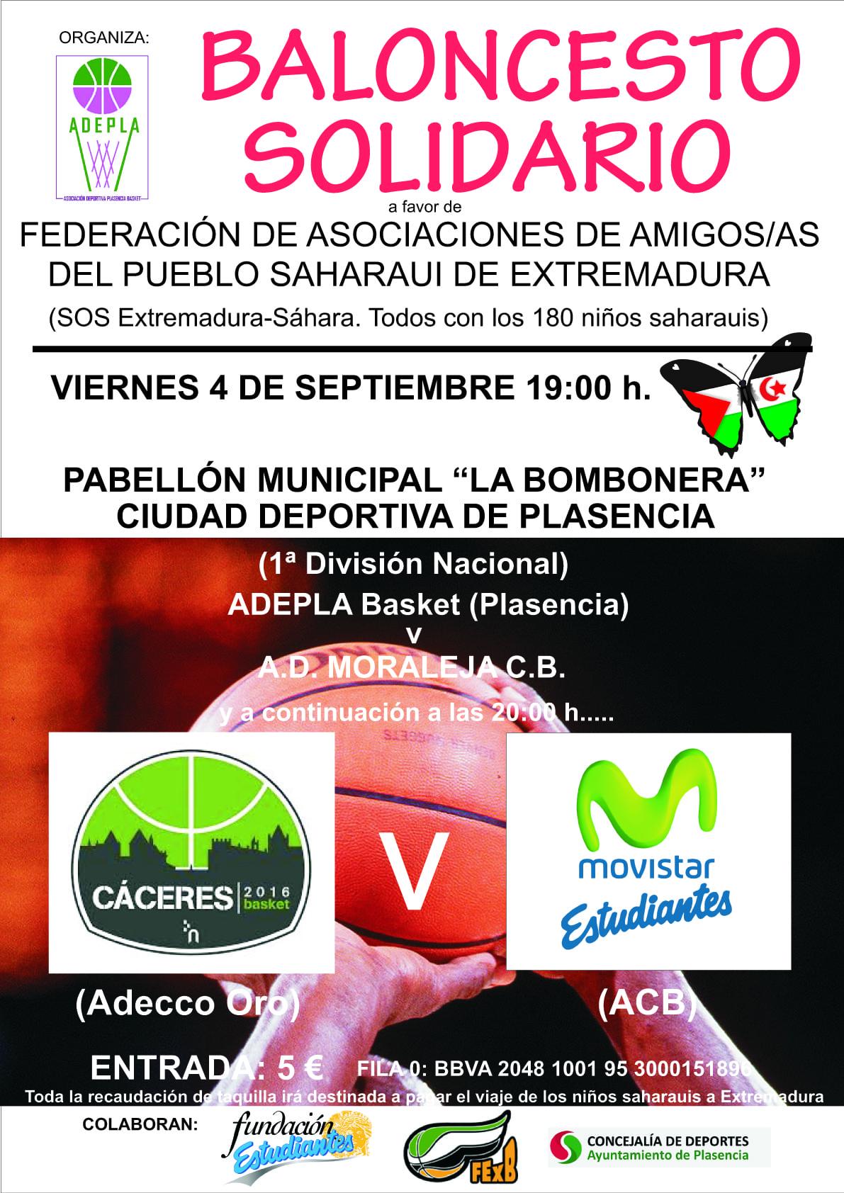 El viernes 4 llega el primer amistoso para Movistar Estudiantes: partido solidario con el Sahara en Plasencia contra el Cáceres CB