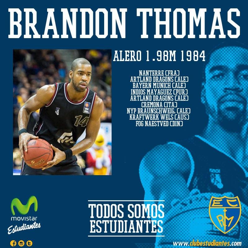 El polivalente alero Brandon Thomas, nuevo jugador de Movistar Estudiantes