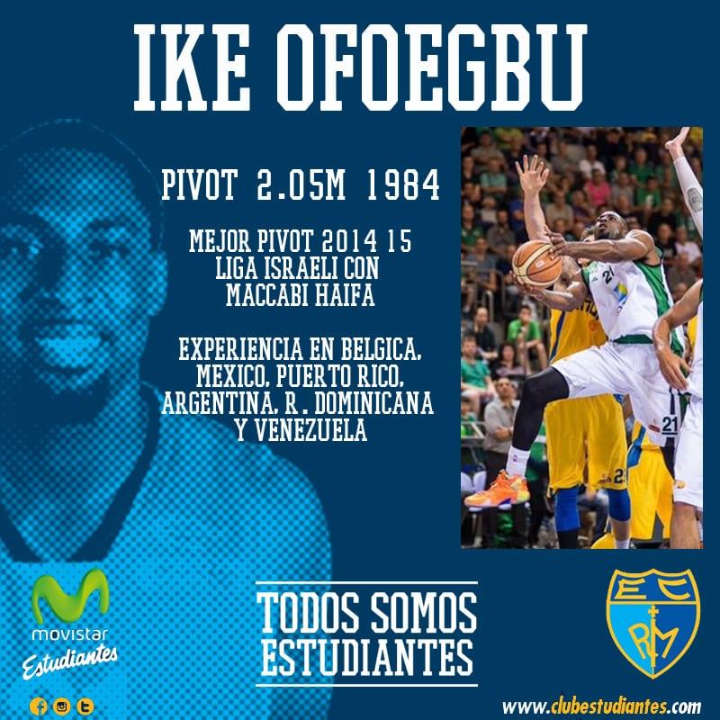 El mejor pívot de la liga israelí, Ike Ofoegbu, nuevo jugador de Movistar Estudiantes