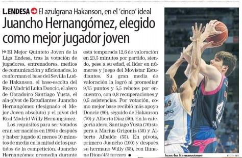 Juancho Hernangómez, protagonista en prensa por su galardón de Mejor Joven