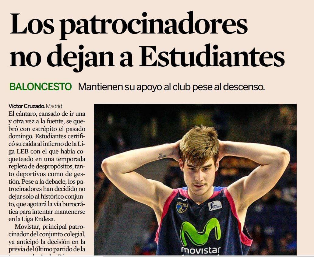 El prestigioso diario económico Expansión destaca que los patrocinadores no dejan a Movistar Estudiantes