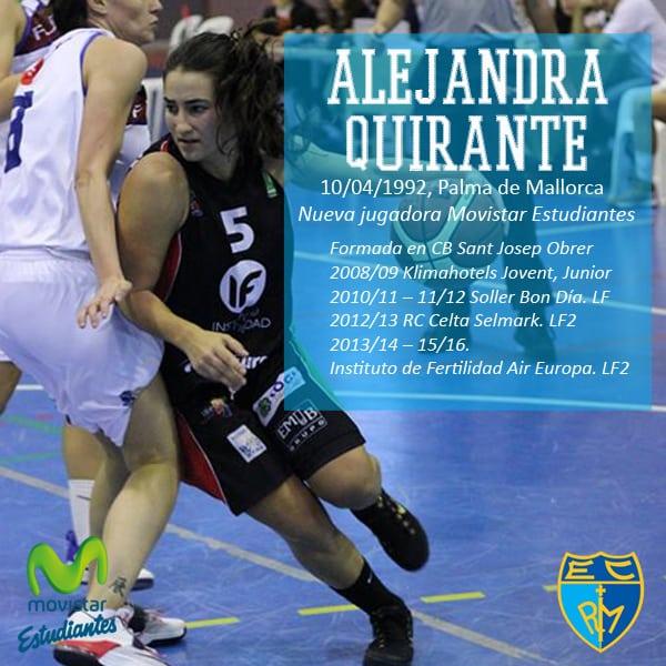 Alejandra Quirante, nueva directora de juego para Movistar Estudiantes en LF2