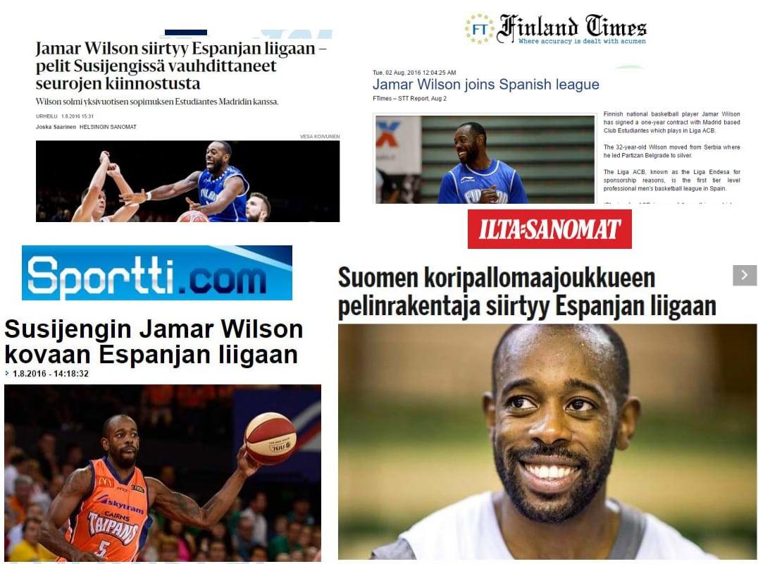 Jamar Wilson, fenómeno de masas en Finlandia. Su fichaje en prensa