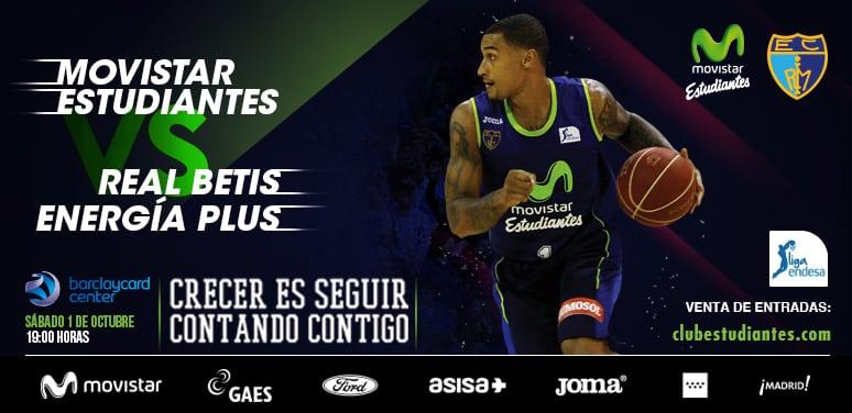 Entradas para el Movistar Estudiantes- Real Betis Energía Plus (sáb. 1 octubre, 19h), de 10 a 45€. 30% descuento para abonados