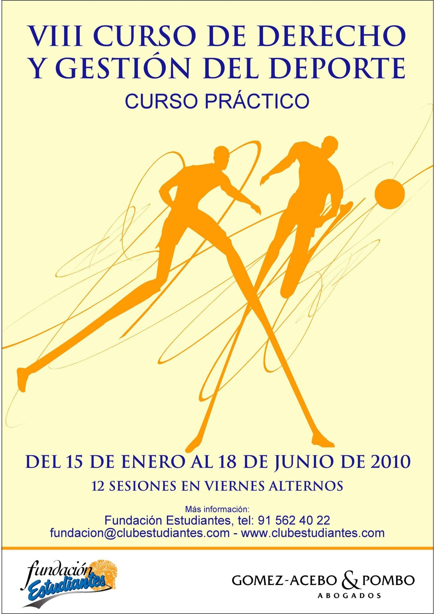 VIII Curso de Derecho y Gestión del Deporte: abierto el plazo de inscripción