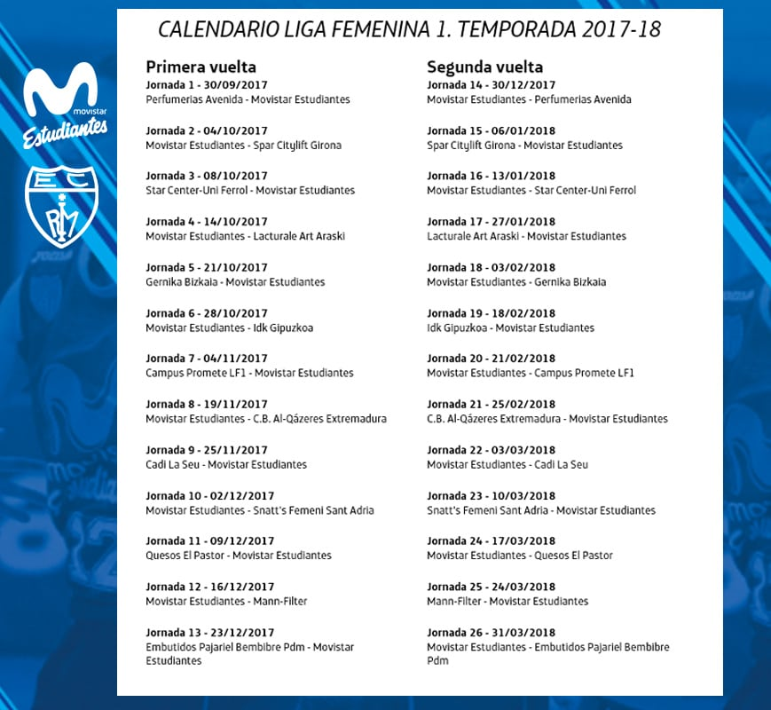 calendario de Movistar Estudiantes en Liga Femenina 2017-18