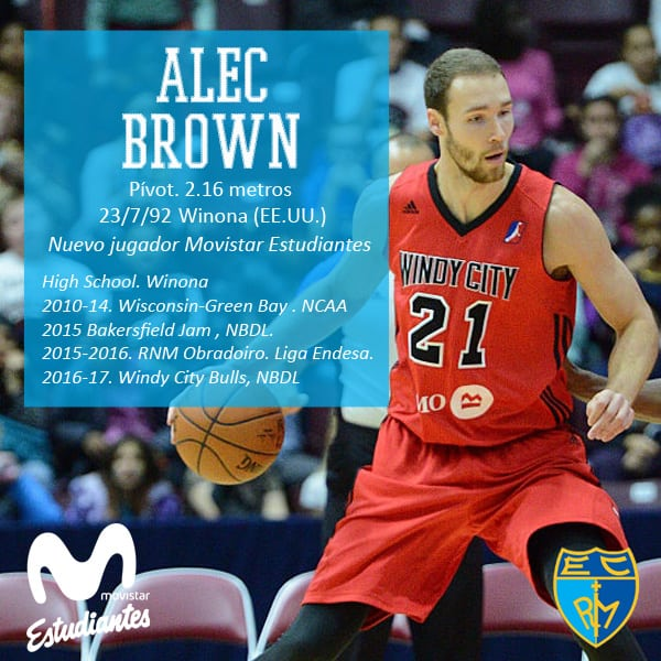 Alec Brown (2,16m, 1992) refuerza la pintura de Movistar Estudiantes hasta final de temporada