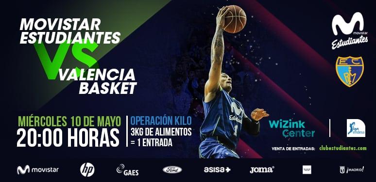 Descuento del 50% para abonados en el Movistar Estudiantes – Valencia Basket. Entradas desde 10€.