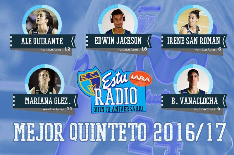Mejor Quinteto EstuRadio Autoescuela Lara 2016-17: Quirante, Jackson, San Román, González y Vanaclocha