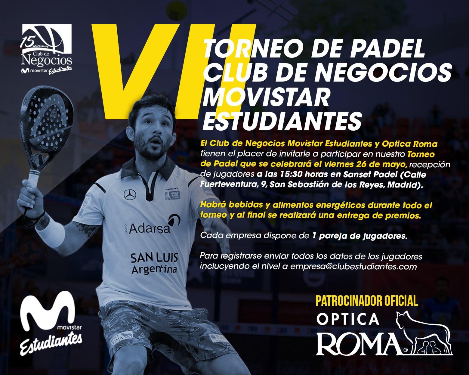 Celebrado el VII Torneo de Padel Club de Negocios Movistar Estudiantes, patrocinado por Óptica Roma
