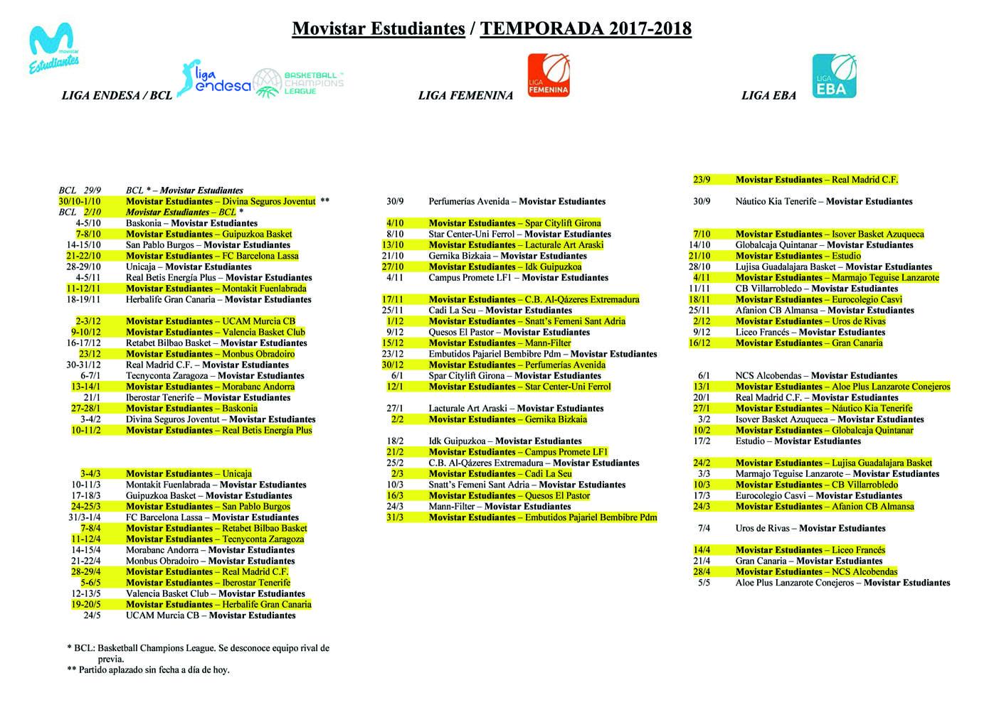 Descárgate el calendario de Movistar Estudiantes 2017-18 en Liga Endesa, BCL, Liga Femenina y Liga EBA