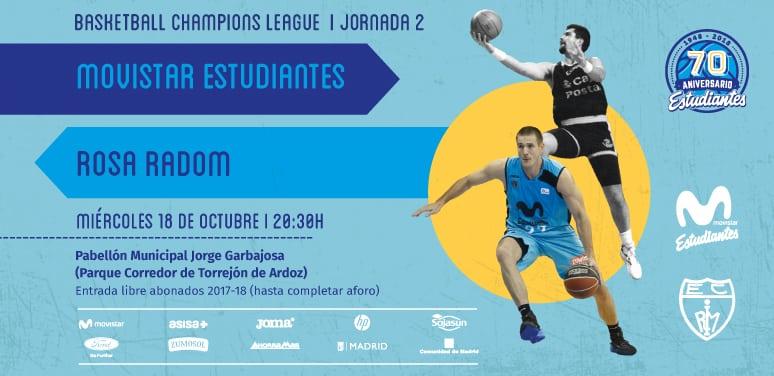 Torrejón de Ardoz acogerá el Movistar Estudiantes – Rosa Radom de Champions.