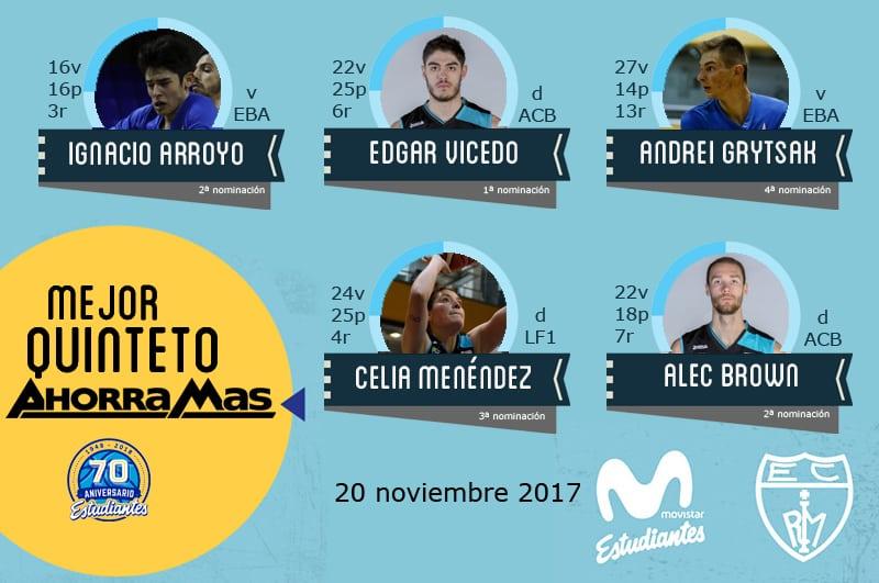 6º Quinteto Ahorramás: Arroyo, Vicedo, Grytsak, Menéndez y Brown