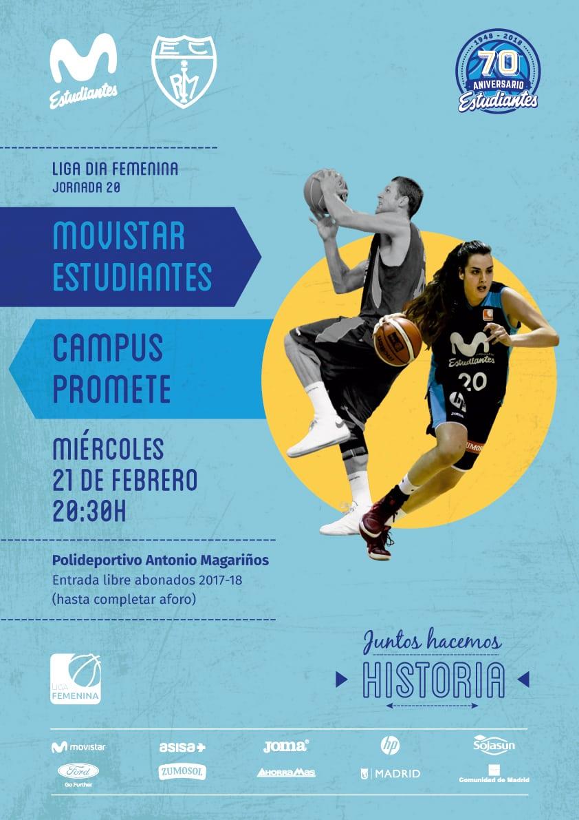 Miércoles 21, 20:30h, Movistar Estudiantes – Campus Promete, Liga Día en Magariños