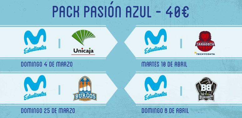 """Pack """"Pasión Azul"""": los partidazos ante Unicaja, S. Pablo Burgos, Retabet Bilbao y Tecnyconta ZGZ desde 40 euros"""