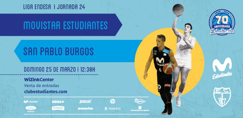 Movistar Estudiantes – San Pablo Burgos. Domingo 25 marzo,12:30h. Entradas desde 15 euros. Descuento 20% abonados.