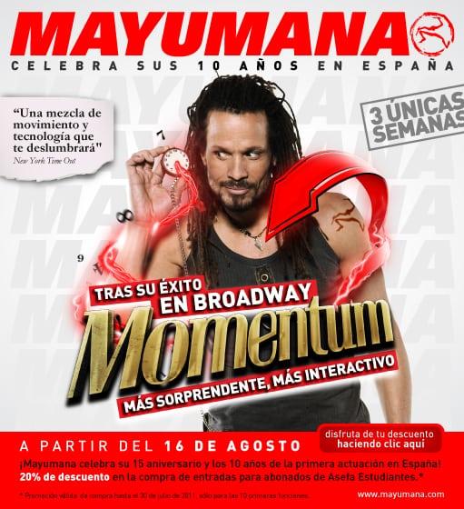 20% para abonados en el show de Mayumaná