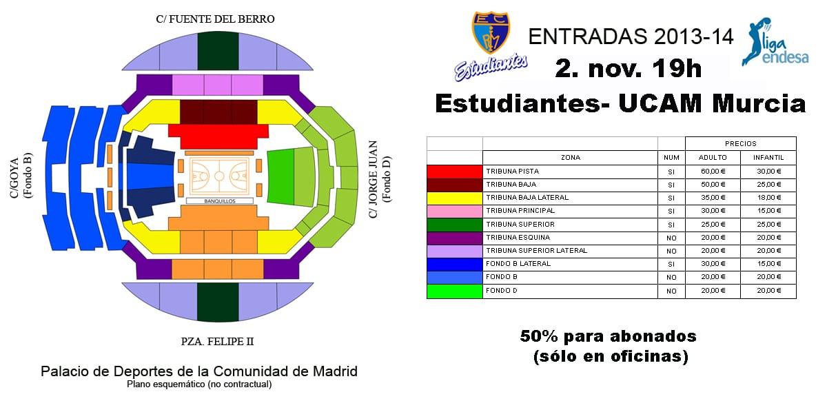 Entradas Estudiantes- UCAM Murcia, entre 15 y 60 euros