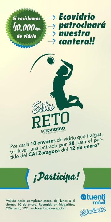 EstuReto Ecovidrio: 10 vidrios = una entrada a 3€ para el CAI Zaragoza HASTA VIERNES A LAS 19H