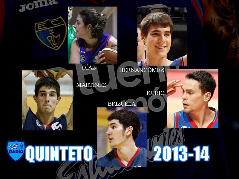 Quinteto EstuRadio 2013-14: Brizuela, Kuric, Martínez, Hernangómez y Díaz