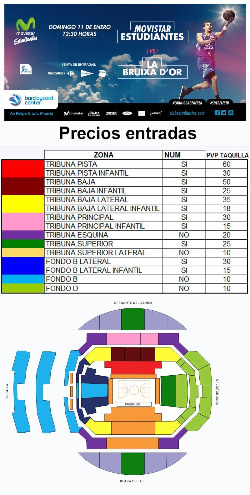 Entradas Movistar Estudiantes- La Bruixa D´Or Manresa (domingo 11 enero, 12:30h), desde 10 euros.