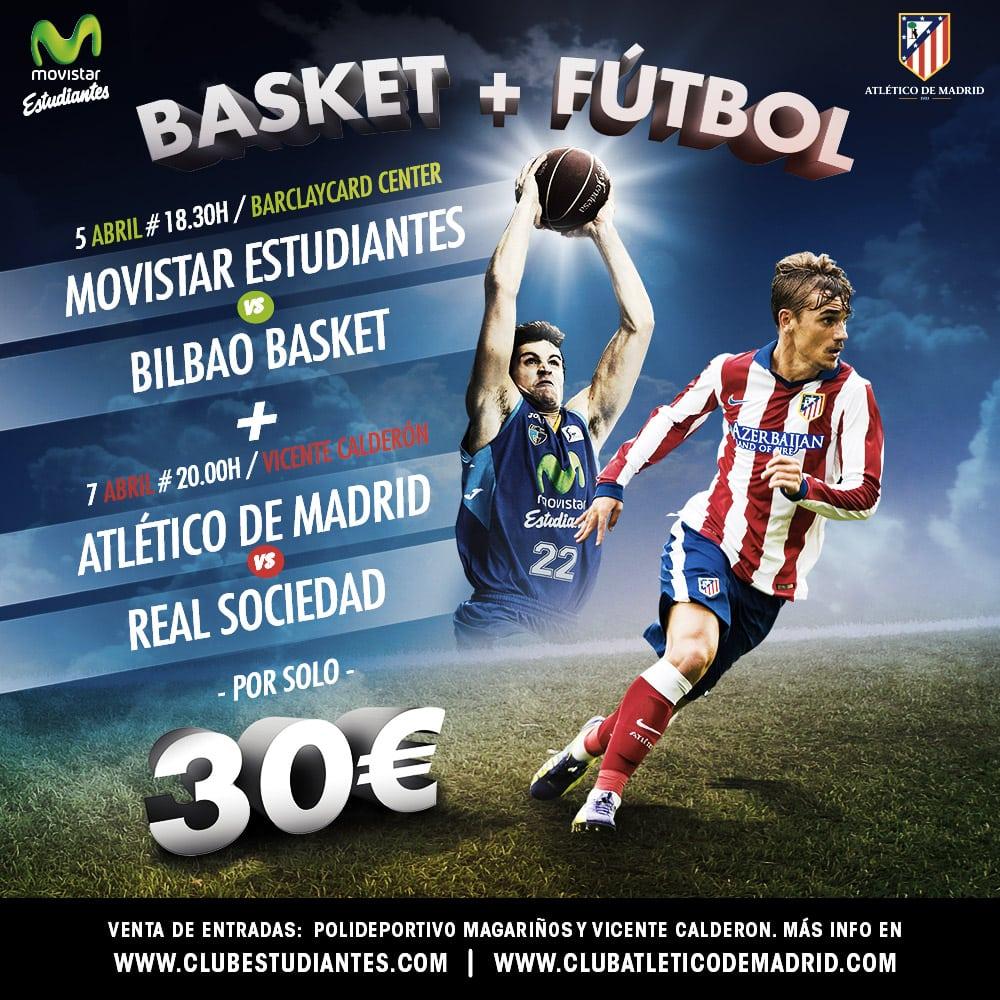 Pack BASKET + FÚTBOL: Movistar Estudiantes + Atlético de Madrid