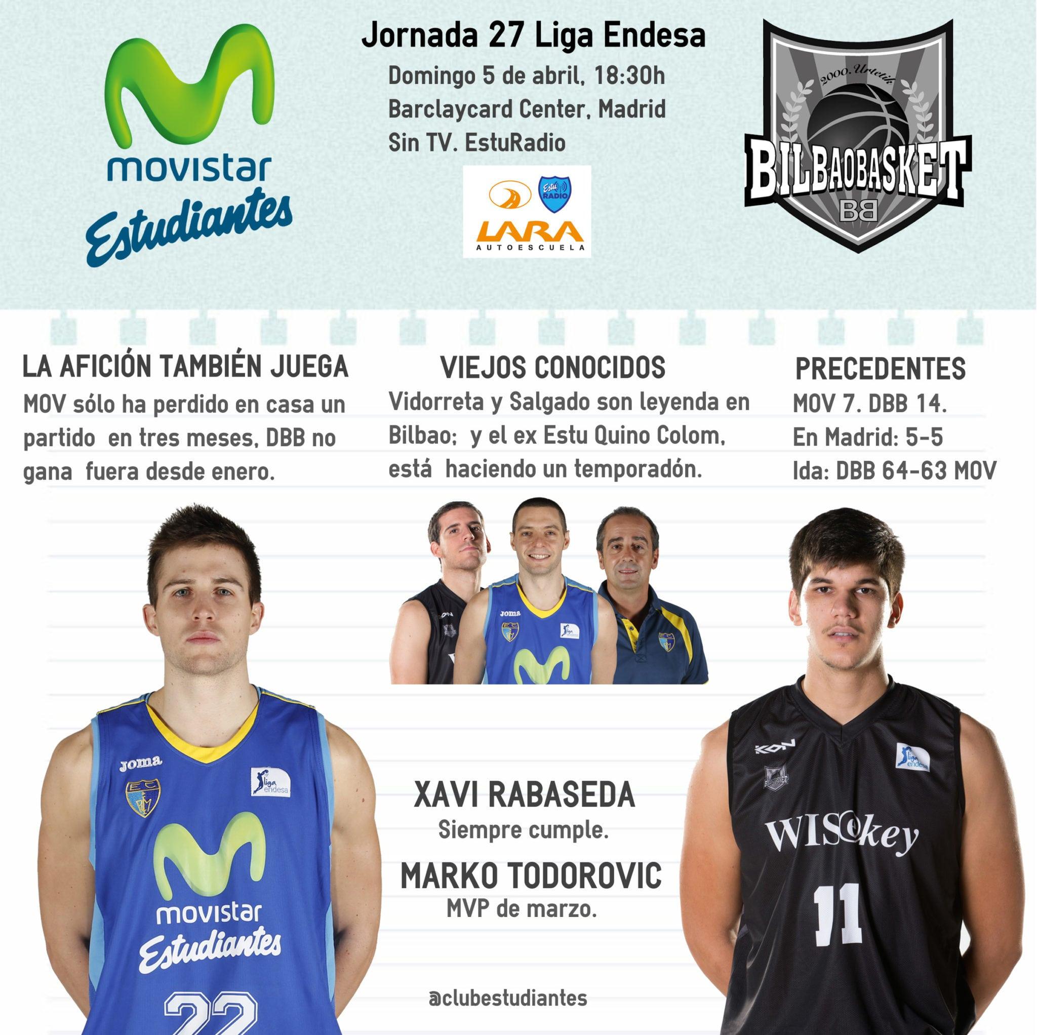 Movistar Estudiantes- Dominion Bilbao Basket (domingo 18:30h, EstuRadio). A por nuestro domingo de resurrección