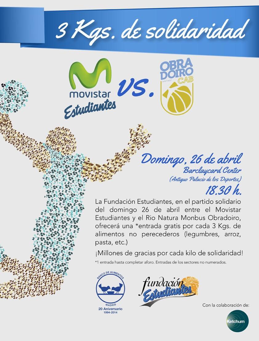 Movistar Estudiantes- Rio Natura Monbus: partido solidario con Banco de Alimentos. 3kg de alimentos no perecederos = 1 entrada