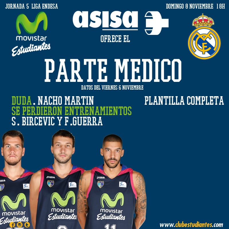 Asisa ofrece el parte médico del Movistar Estudiantes- Real Madrid