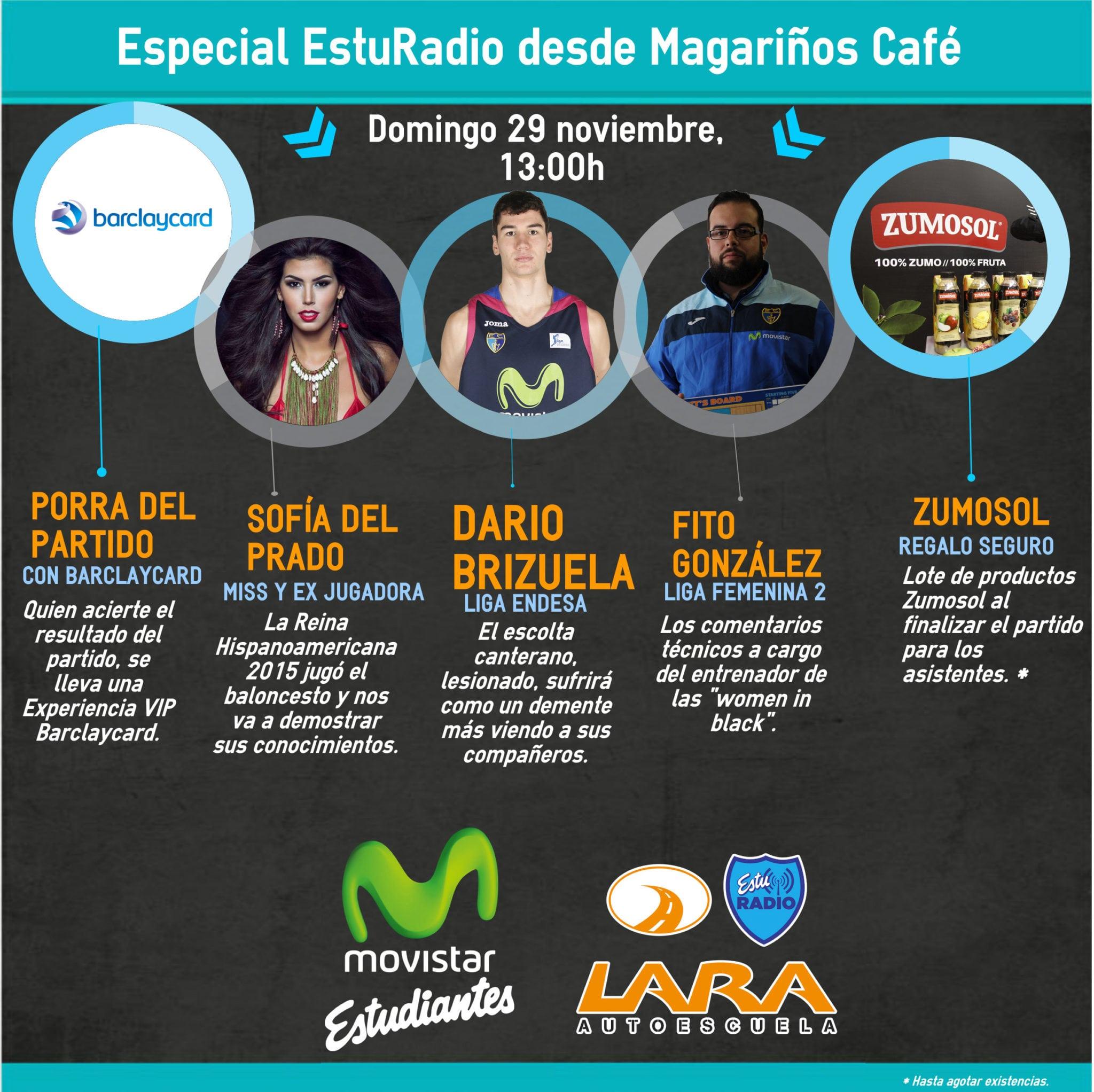 Especial EstuRadio desde Magariños Café con Darío Brizuela, la miss Sofía del Prado y Fito González. Además regalos y sorteos