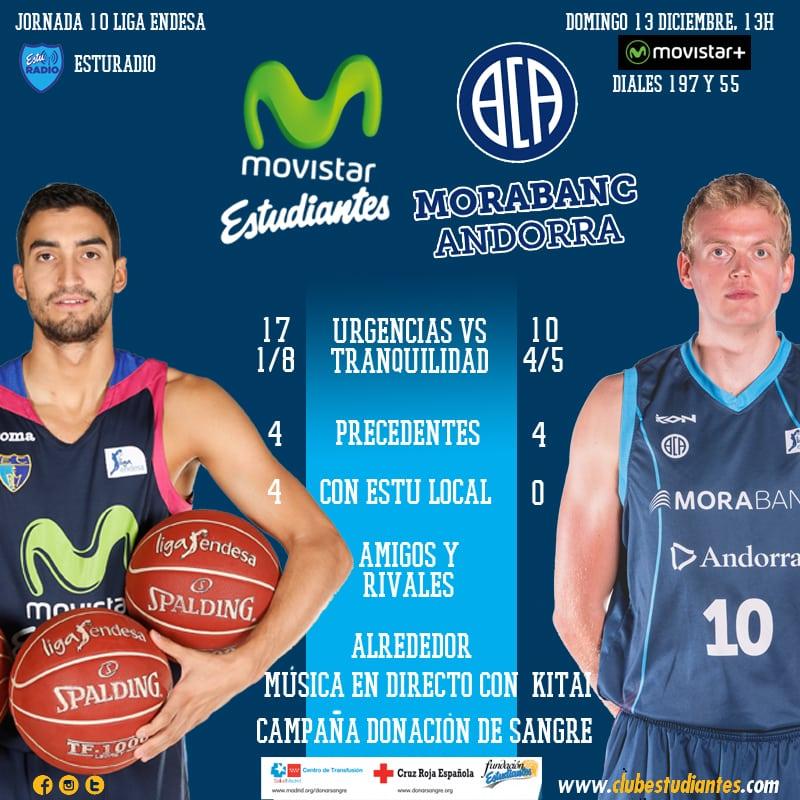 Movistar Estudiantes- Morabanc Andorra: el momento de recuperar la sonrisa (domingo 13 a las 13h, Movistar +. EstuRadio)