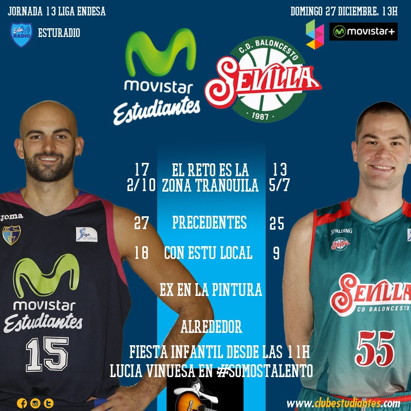 Movistar Estudiantes- Baloncesto Sevilla:  no hay dos sin tres (domingo 13h, Movistar +, Yomvi y EstuRadio)