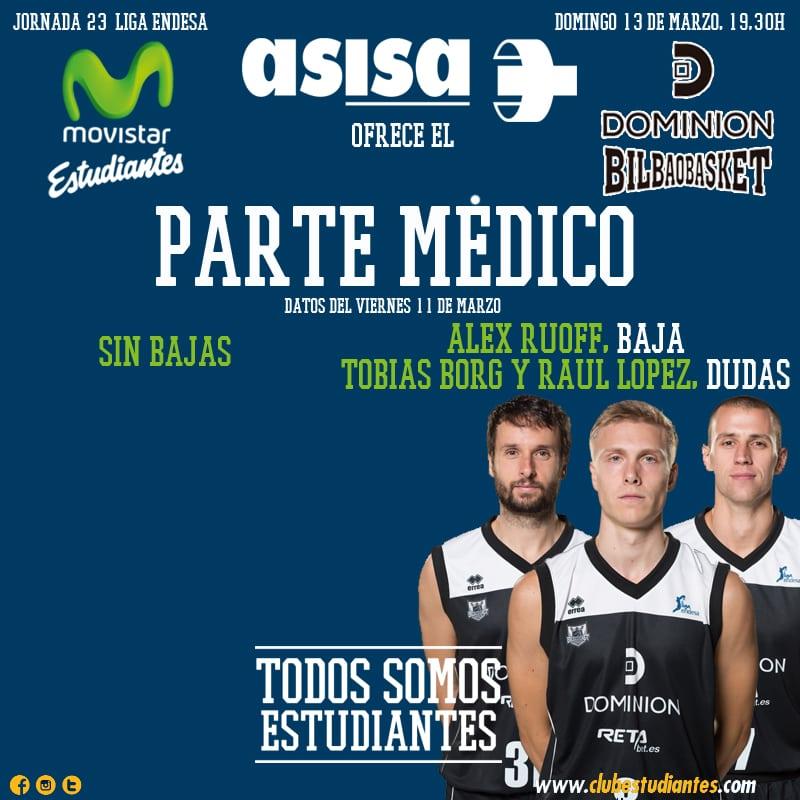 Asisa nos ofrece el parte médico del Movistar Estudiantes – Dominion Bilbao Basket