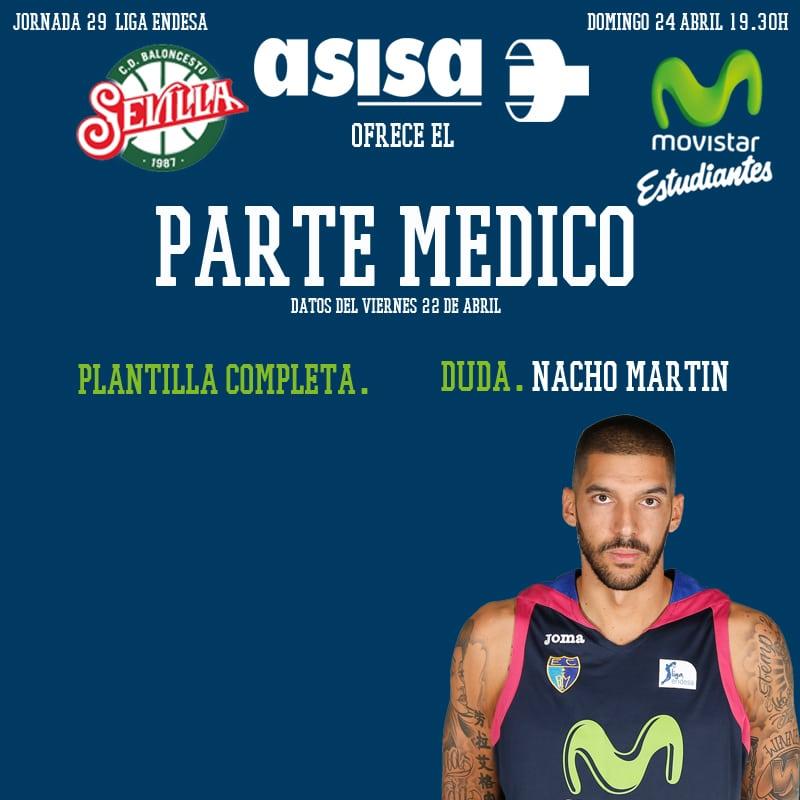 Asisa ofrece el parte médico del B. Sevilla- Movistar Estudiantes: Nacho Martín, duda.