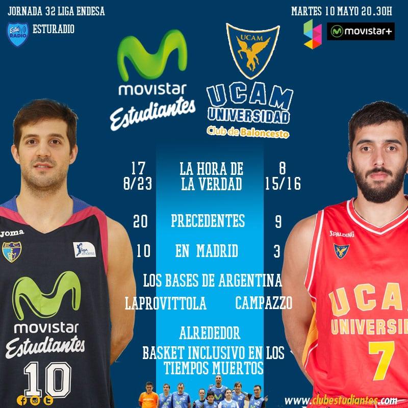 Movistar Estudiantes- UCAM Murcia: ganar o ganar (martes 20:30h, Yomvi, EstuRadio)