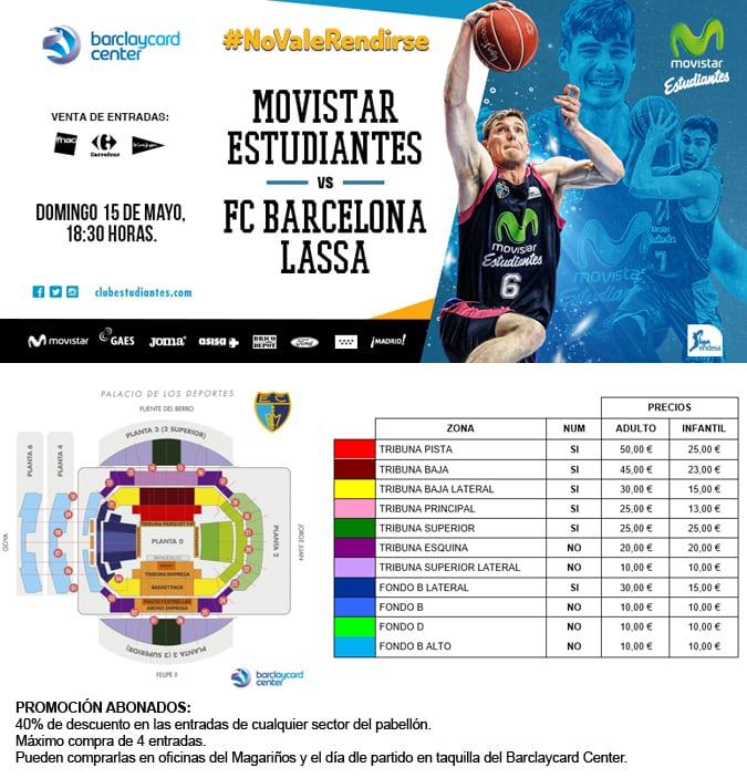 Entradas vs FC Barcelona Lassa. Entre 10 y 50 euros. Descuento 40% para abonados y con ASISA regalos por la compra