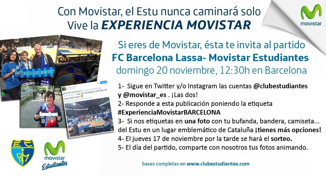 Vive la Experiencia Movistar en Barcelona. Si eres cliente Movistar , te invita a los partidos de fuera con nuestro concurso