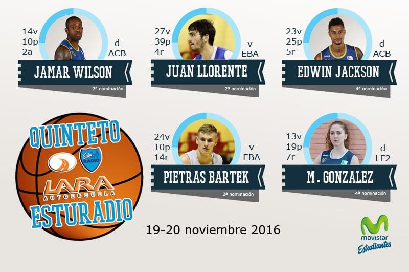 Sexto Quinteto EstuRadio: Jamar Wilson, Juan Llorente, Edwin Jackson, Pietras Bartek y Mariana González