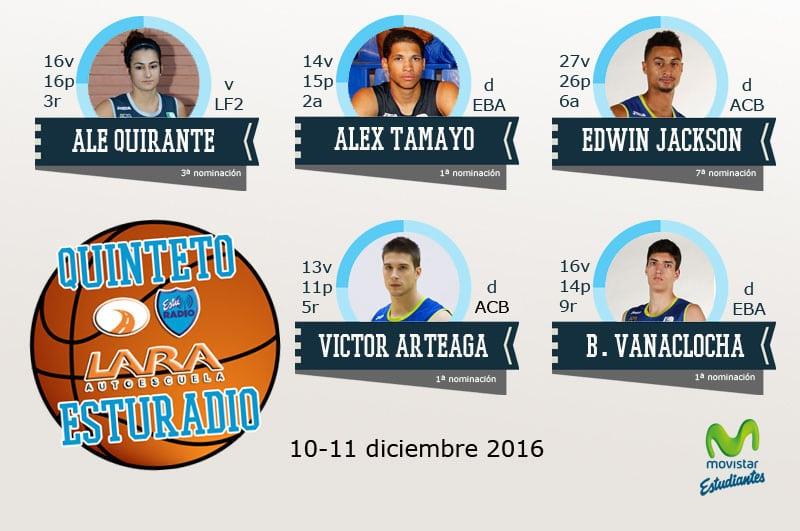Noveno Quinteto EstuRadio Autoescuela Lara: Ale Quirante, Alex Tamayo, Edwin Jackson, Víctor Arteaga y Bernat Vanaclocha
