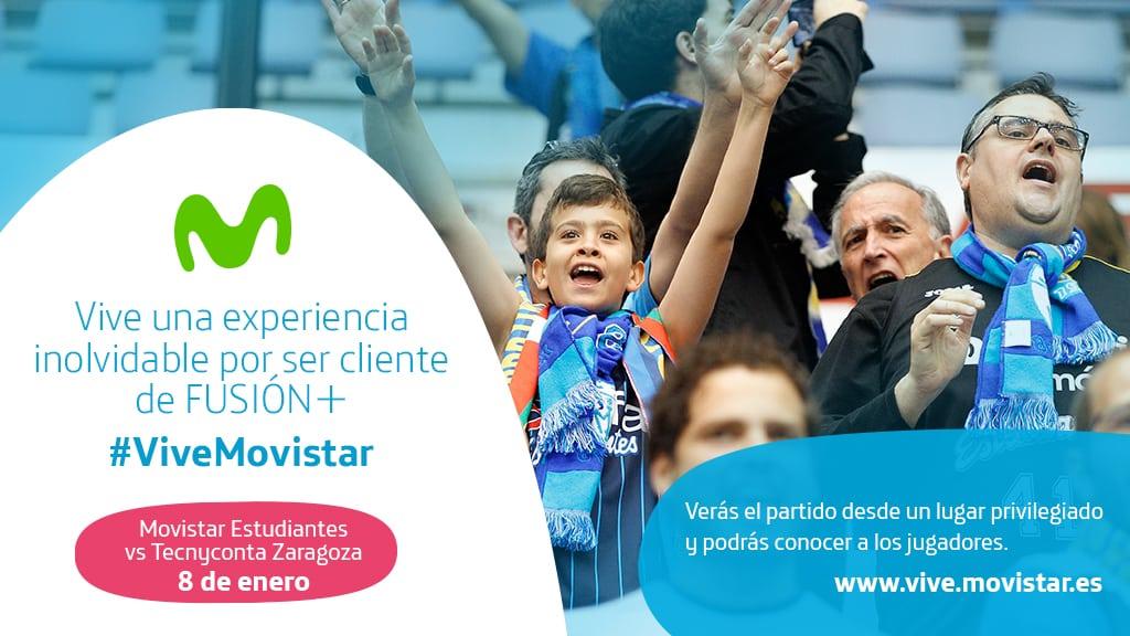 Vive una experiencia inolvidable por ser cliente de FUSIÓN + en el partido contra Tecnyconta Zaragoza con #ViveMovistar