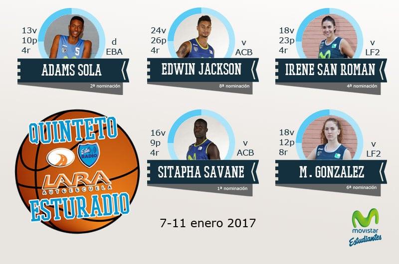 10º Quinteto EstuRadio Autoescuela Lara: Adams Sola, Edwin Jackson, Irene San Román, Sitapha Savane y Mariana González