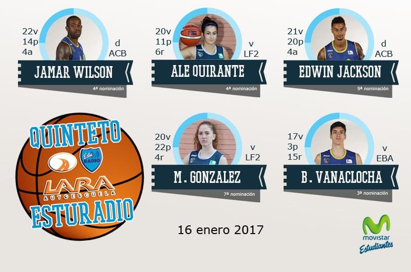 11º Quinteto EstuRadio Autoescuela Lara: Wilson, Quirante, Jackson, González y Vanaclocha