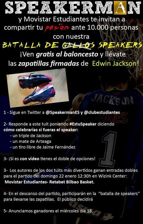 Batalla de speakers en el Movistar Estudiantes- Retabet Bilbao con Speakerman ¡apúntate en Twitter y podrás ganar las zapas de Edwin Jackson!