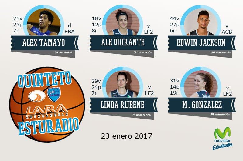 12º Quinteto EstuRadio Autoescuela Lara: Alex Tamayo, Ale Quirante, Edwin Jackson, Linda Rubene y Mariana González