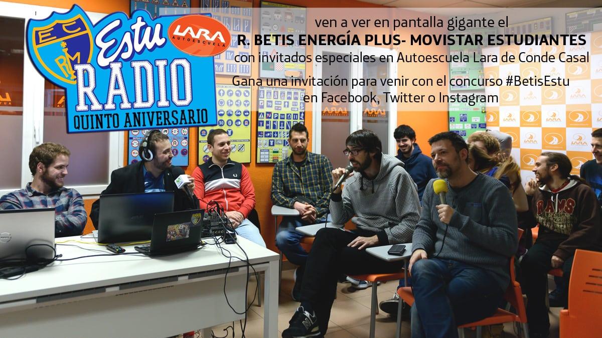 Sergio Sánchez, Fran Guillén, Fito González e Iyi Martín comentarán desde autoescuela Lara el Betis-Estu en EstuRadio