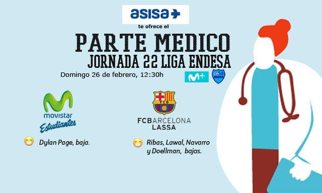 Asisa ofrece el parte médico del Movistar Estudiantes- FC Barcelona Lassa