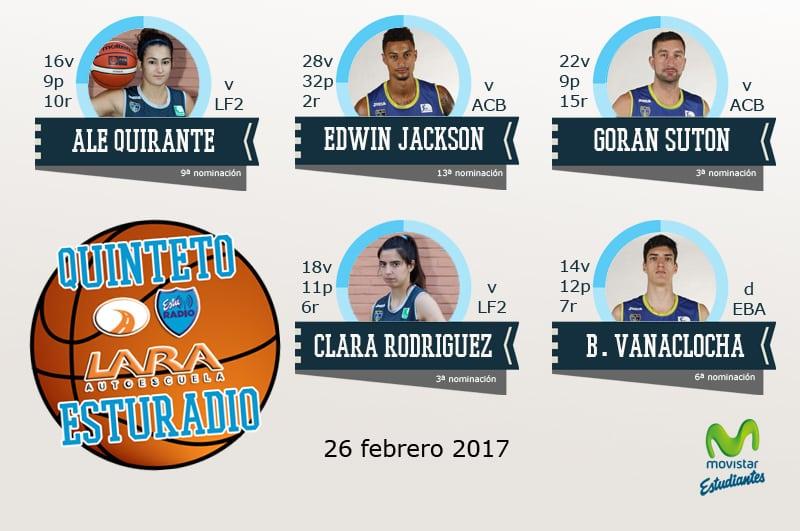 16º Quinteto EstuRadio Autoescuela Lara: Ale Quirante, Edwin Jackson, Goran Suton, Clara Rodríguez y Bernat Vanaclocha