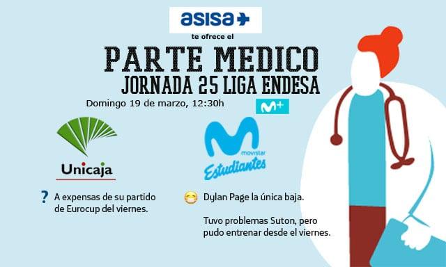 Asisa ofrece el parte médico del Unicaja- Movistar Estudiantes