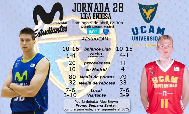 Movistar Estudiantes- UCAM Murcia: comienza la cuenta atrás (domingo 12:30h, Movistar + , EstuRadio)